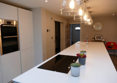 Kitchen extension Welwyn Garden City, kitchen design Bedfordshire, kitchen design Hertfordshire, kitchen fitter, kitchen extension Bedfordshire, kitchen extension Hertfordshire, handleless kitchen, grey kitchen, open plan living, sliding doors