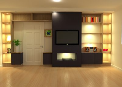 TV unit, TV shelving, media unit, media centre, cinema room, bookcase, alcove shelving, bespoke TV unit, TV wall unit, entertainment room,